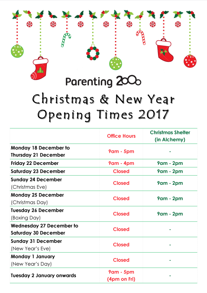 Christmas 2017 Opening Times
