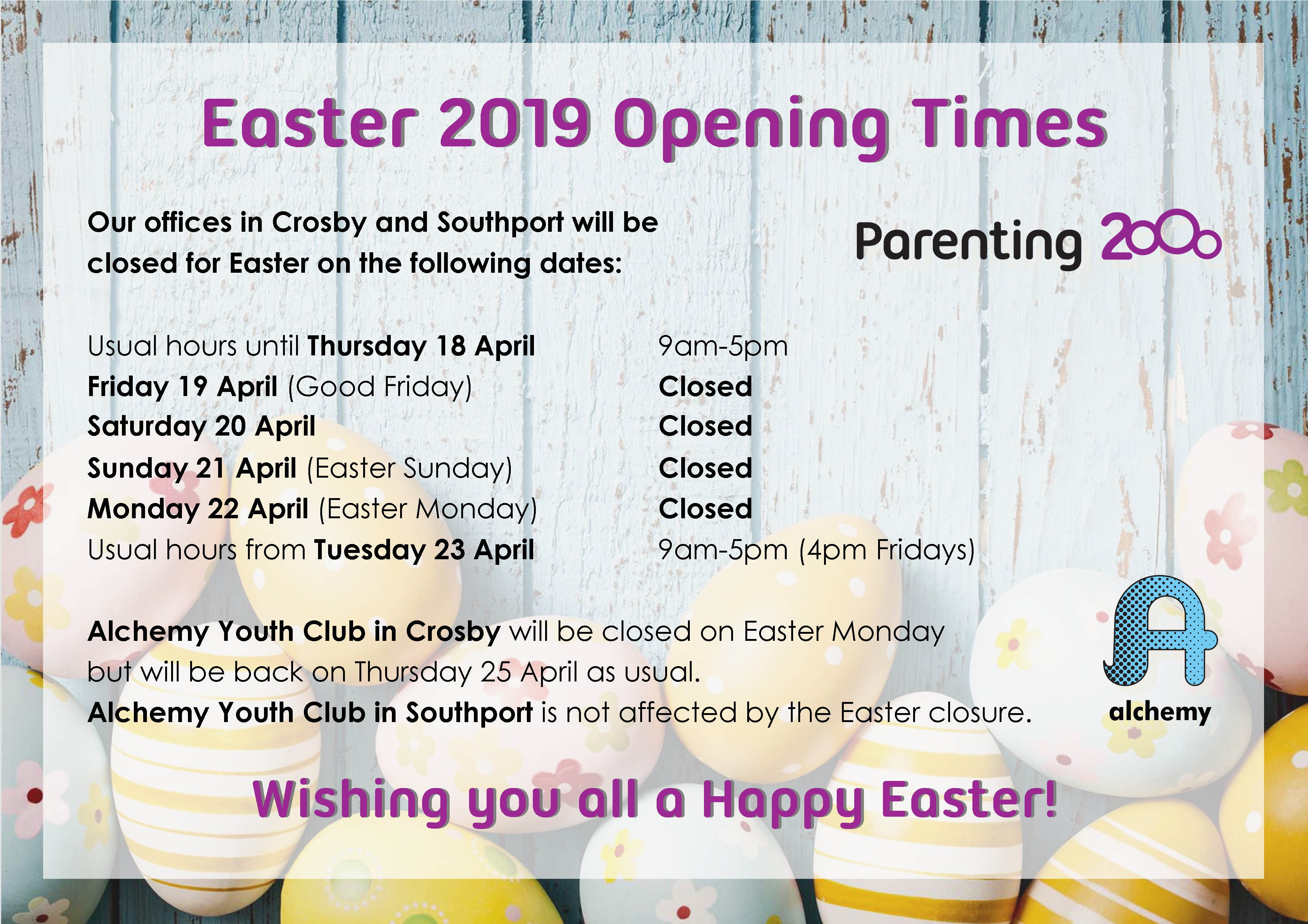 c0a261cff2 Easter 2019 Opening Times